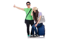 The girl and boy with suitcase isolated on white Stock Photos