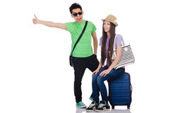 The girl and boy with suitcase isolated on white Stock Photo