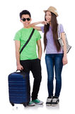 The girl and boy with suitcase isolated on white Stock Photography