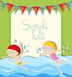 Girl and boy swimming Royalty Free Stock Image