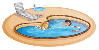 A girl and a boy swimming at the pool. Lllustration of a girl and a boy swimming at the pool on a white background Royalty Free Stock Image