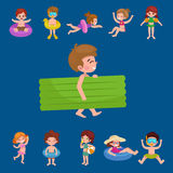 Girl and boy in swimsuit isolated, kids summer vacation Royalty Free Stock Photos