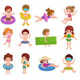 Girl and boy in swimsuit isolated, kids summer vacation Royalty Free Stock Photo