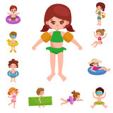 Girl and boy in swimsuit , kids summer vacation Stock Photography