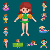 Girl and boy in swimsuit , kids summer vacation Royalty Free Stock Photography