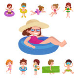 Girl and boy in swimsuit , kids summer vacation Royalty Free Stock Photo
