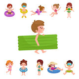 Girl and boy in swimsuit , kids summer vacation Stock Photos