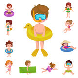 Girl and boy in swimsuit , kids summer vacation Royalty Free Stock Images