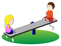 Girl and boy swing on swings Stock Photography