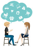 A girl and a boy talking about business. On a white background Royalty Free Stock Images