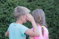 Girl and boy talking Stock Image