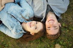 Girl and Boy Teen Friends stock photo