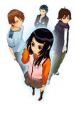 Girl boy teens anime character cartoon style  illustration Royalty Free Stock Images