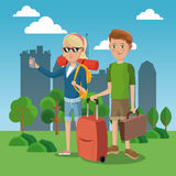 Girl and boy tourist with rucksack suitcase green field city background Stock Photography
