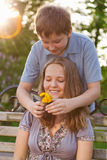 Two teenages outdoors. Girl and boy, two teenages outdoors Stock Photo