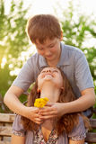 Two teenages outdoors. Girl and boy, two teenages outdoors stock images