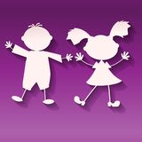 Girl and boy on ultraviolet background, paper art style  Stock Photo