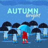 Girl and boy with umbrella in a autumn raining day. Background concept. Vector illustration design Royalty Free Stock Photo