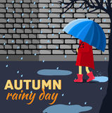 Girl and boy with umbrella in a autumn raining day. Background concept. Vector illustration design Royalty Free Stock Photography
