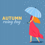Girl and boy with umbrella in a autumn raining day. Background concept. Vector illustration design Stock Photos