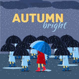 Girl and boy with umbrella in a autumn raining day. Background concept. Vector illustration design Royalty Free Stock Image