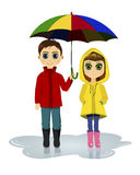 Girl and boy with umbrella. Kids in rainy day Royalty Free Stock Photos