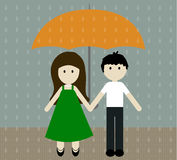 Girl and boy with umbrella in the pouring rain. Vector illustration. Stock Photography