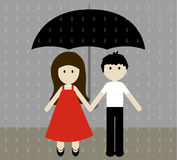 Girl and boy with umbrella in the pouring rain. Vector illustration. Stock Photo