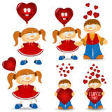 Girl and boy valentive love cartoon Stock Photos