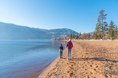 Girl and boy walking along sandy beach on sunny day with blue sky in winter stock photo