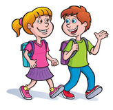 Girl, and Boy Walking with Backpacks On. Cartoon illustration of a girl and boy walking and talking with backpacks on Stock Photo
