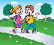 Girl and Boy Walking from School with Backpacks Stock Photography