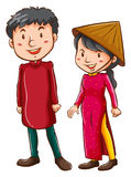 A girl and a boy wearing the Asian costumes Stock Images