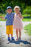 The girl with the boy wriggle. Stock Image