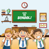 Girl and boys cartoon of back to school design. Girl abd boys cartoon and classroom icon. Back to school theme. Colorful design. Vector illustration Stock Photos