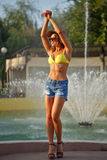 Girl in bra and the shorts Royalty Free Stock Photos