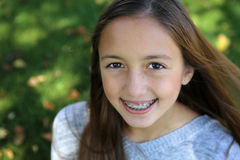 Girl with braces Stock Photo