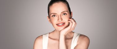 Girl with braces smiling broad smile royalty free stock image