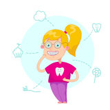 The girl with braces. On a white background vector illustration.Funny cartoon character. Vector illustration.Dental children illustration.Beautiful, perfect Royalty Free Stock Photos