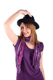 Girl with brackets in a hat. Isolated on thr white Stock Image