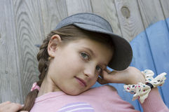 Girl With Braided Plait Stock Photo
