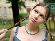 Girl with braids. Teenage girl with braids Royalty Free Stock Photos