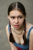 Girl with braids. Shallow DOF Stock Images