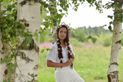 Girl with braids and a wreath of daisies. Girl with braids and daisies in her hair Stock Image