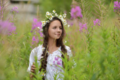 Girl with braids and a wreath of daisies. Girl with braids and daisies in her hair Royalty Free Stock Images