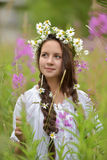 Girl with braids and a wreath of daisies Stock Photo