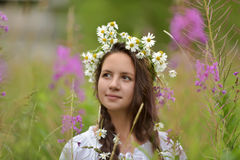 Girl with braids and a wreath of daisies Stock Image