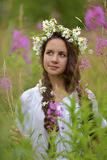 Girl with braids and a wreath of daisies Stock Images