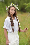 Girl with braids and a wreath of daisies. Girl with braids and daisies in her hair Royalty Free Stock Image