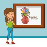 Girl with brain creative big idea Stock Images